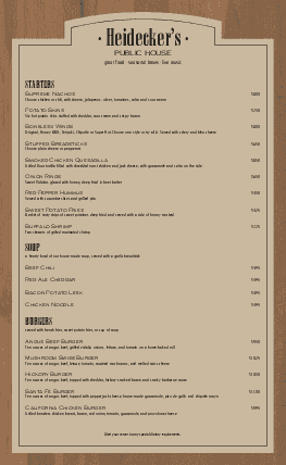Customize Brewery Menu Long
