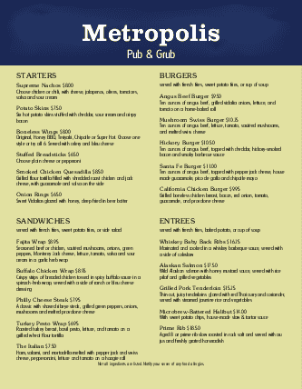 Customize Brewery Pub Menu