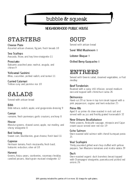 Customize British Tavern A4 Menu