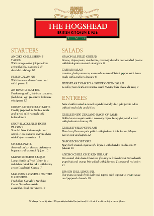 Customize British Pub Menu A4