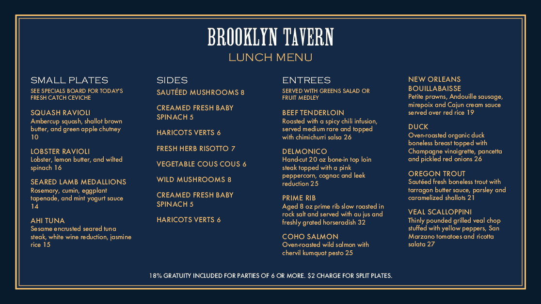 Customize Brooklyn Tavern Digital Menu