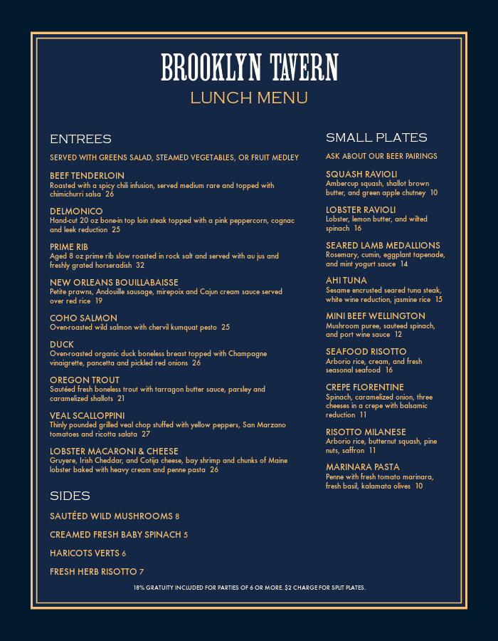 Brooklyn Tavern Menu