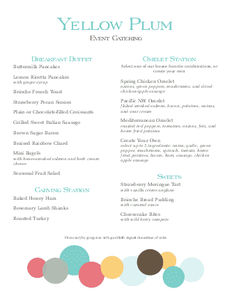 Customize Brunch Buffet Menu