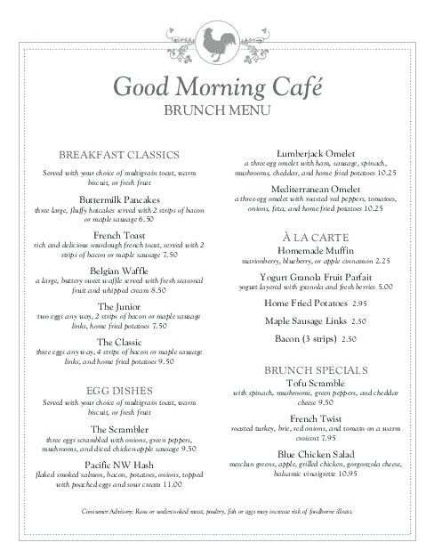 Buffet Breakfast Menu  A La Carte Menu Template
