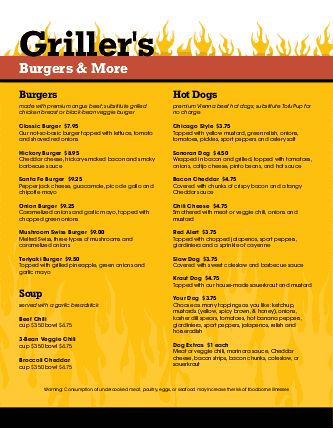 Customize Burger Bar Menu