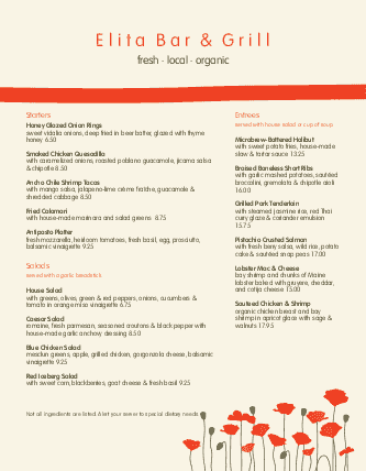 Customize Cafe Bistro Menu
