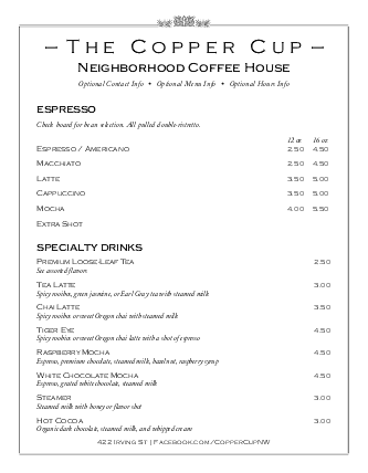 Customize Cafe Coffee Menu