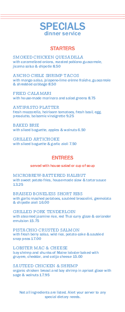 Customize Cafe Restaurant Daily Specials Menu