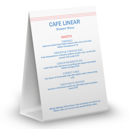 View Cafe Restaurant Table Tent