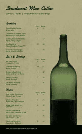 Customize Cafe Wine List