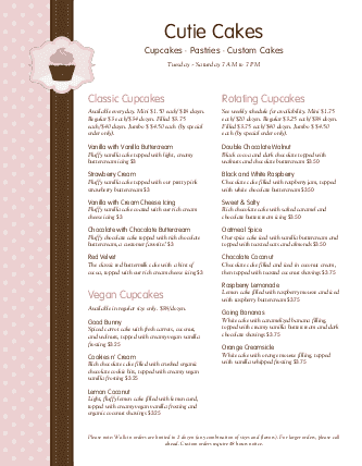 Customize Cake Shop Menu