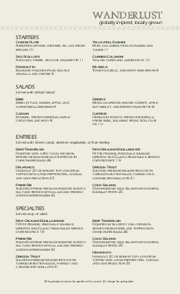 Customize Casual Fine Dining Menu