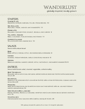 Customize Casual Dining Menu