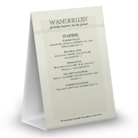 Casual Dining Table Tent Menu