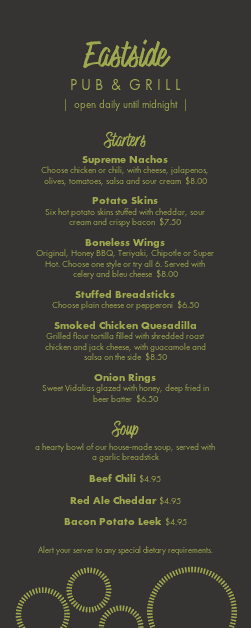 Customize Casual Pub Half Page Menu