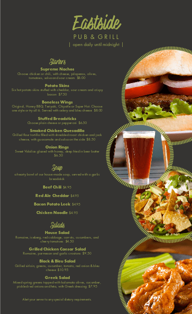 Customize Casual Pub Menu
