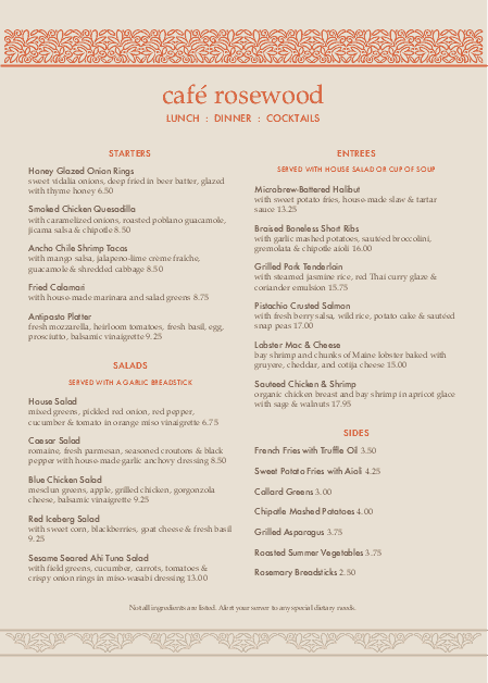 Customize Casual Restaurant A4 Menu