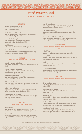 Customize Casual Restaurant Menu