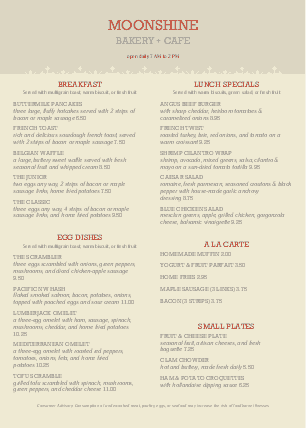 Customize A4 Catered Breakfast Menu