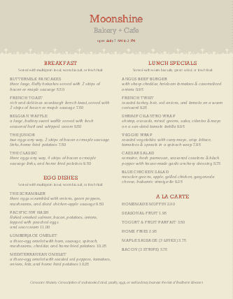 Customize Catered Breakfast Menu