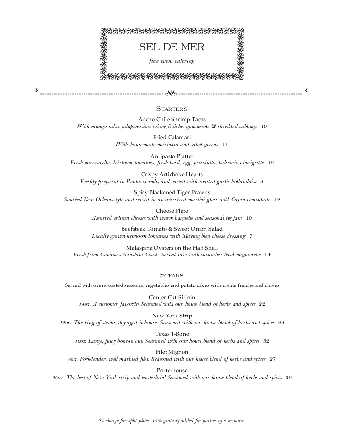 Catered Dinner Restaurant Menu
