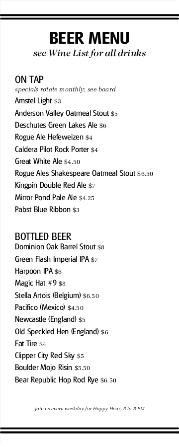 Catering Platter Beer Menu