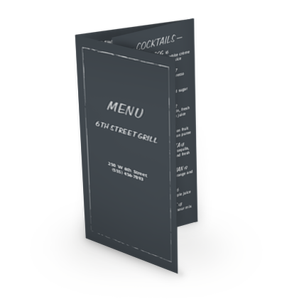 View Chalkboard Bar Trifold Menu
