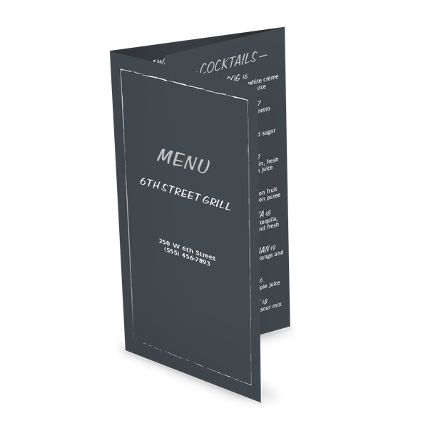 Customize Chalkboard Bar Trifold Menu
