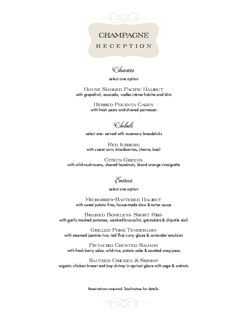Customize Champagne Dinner Menu