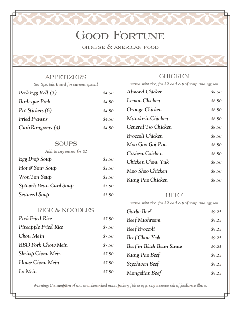 Chinese Food Menu | Design Templates by MustHaveMenus