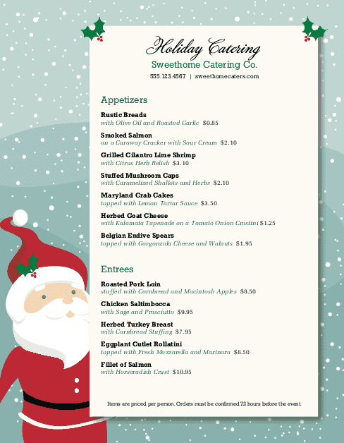 Customize Christmas Dinner Catering Menu