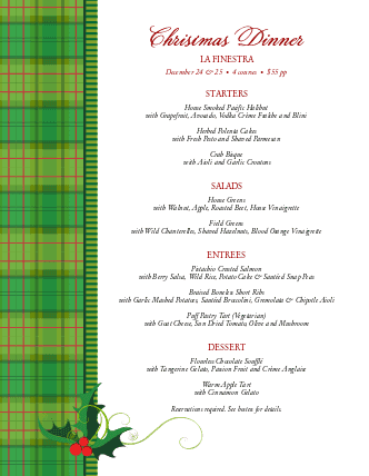 Customize Christmas Food Menu