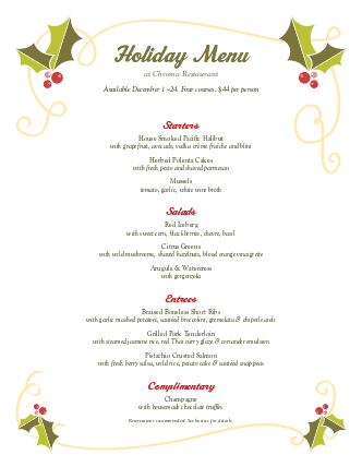 Customize Christmas Holly Buffet Menu