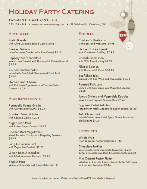 Customize Christmas Party Catering Menu