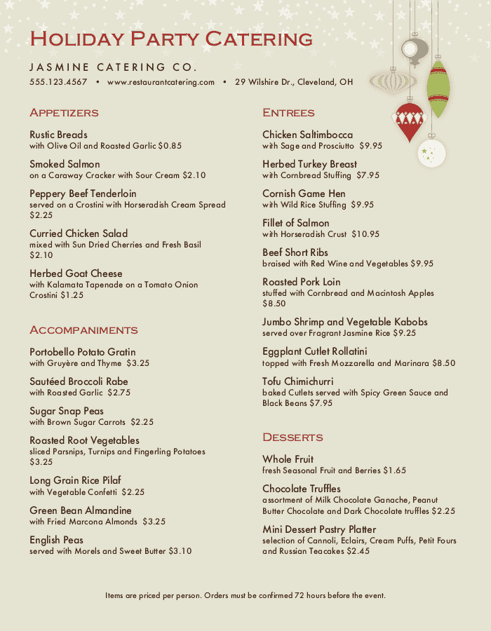Christmas Party Catering Menu