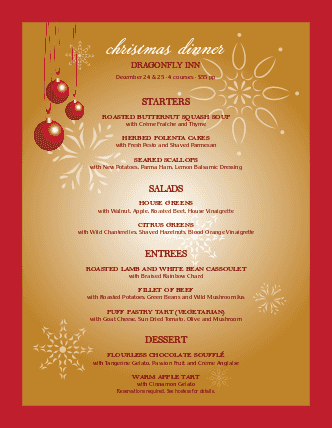 christmas party menu design templates by musthavemenus