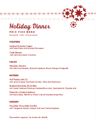 view christmas prix fixe menu