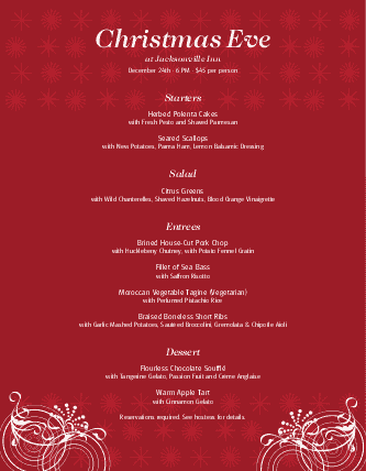 Customize Restaurant Christmas Menu