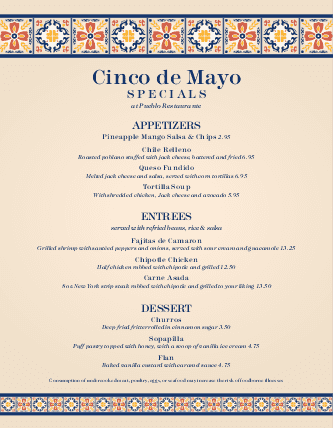 Customize Cinco de Mayo Menu