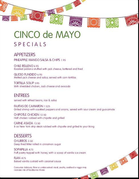 Customize Cinco de Mayo Specials Menu