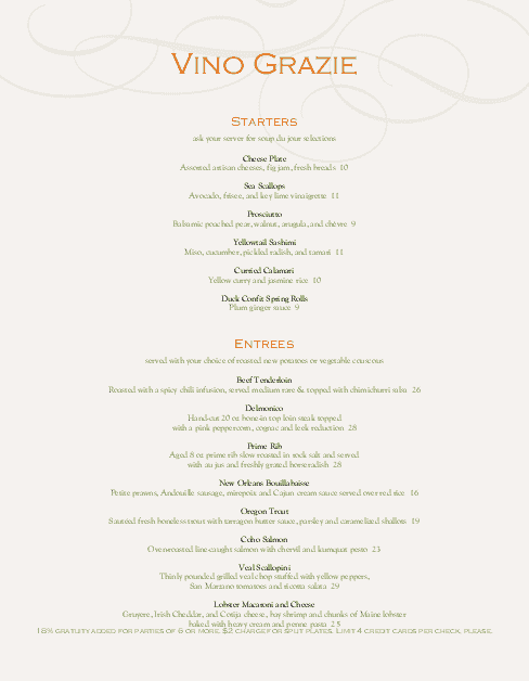 Customize City Fine Dining Menu