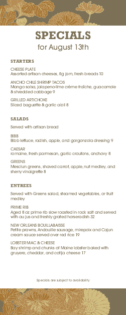 Customize City Cafe Specials Menu