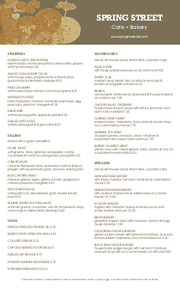 Customize City Cafe Long Menu