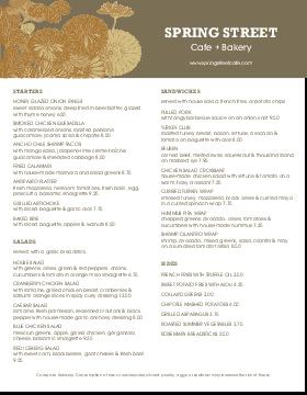 City Cafe Menu