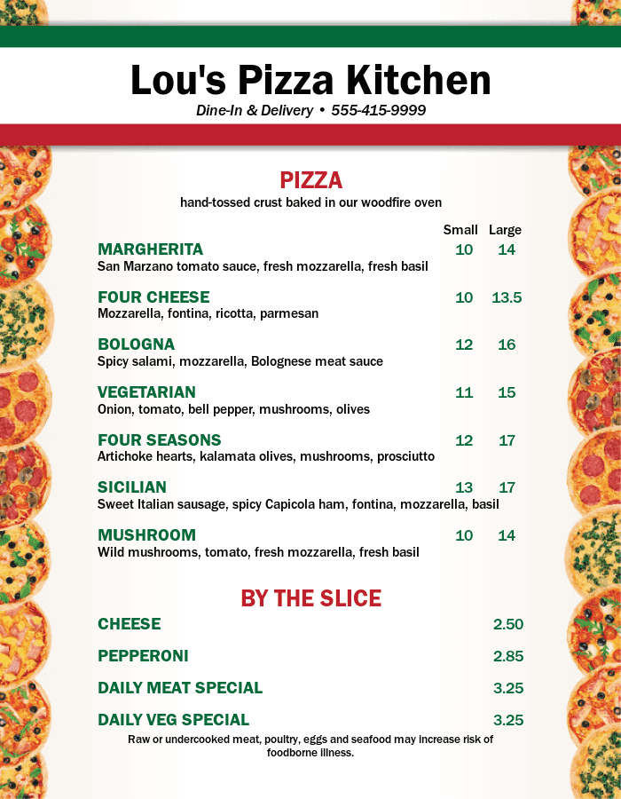 City Pizza Menu