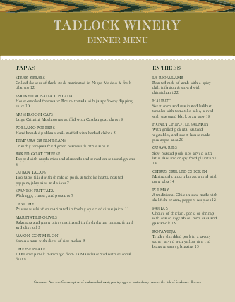Customize City Winery Menu