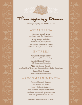 Customize Classic Thanksgiving Menu