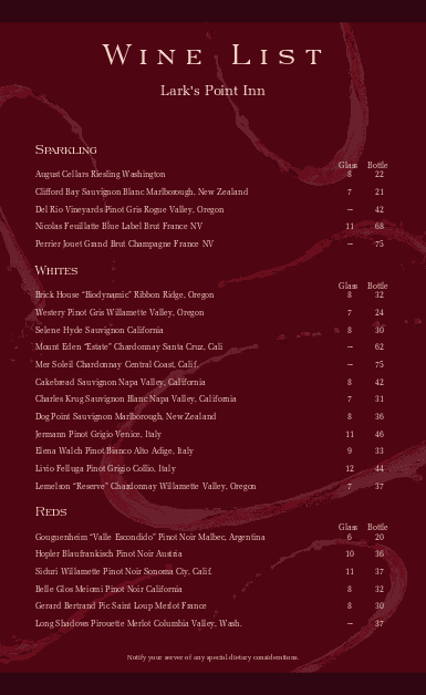Customize Classic Wine List