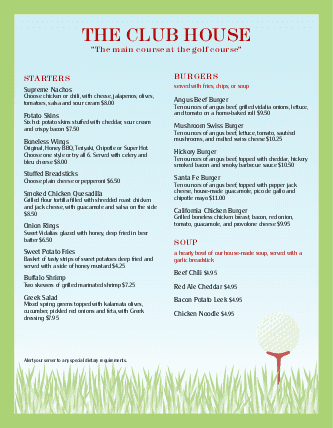 Customize Club House Menu