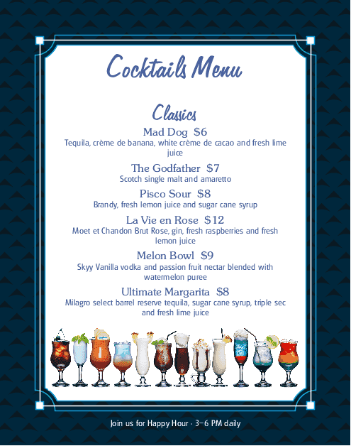 Customize Cocktail Menu Poster